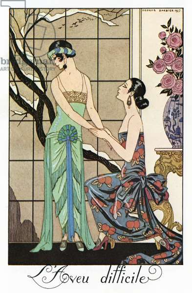 BARBIER: CONFESSION, 1923 'L'aveu difficile.' Fashion plate illustration by George Barbier, 1923.