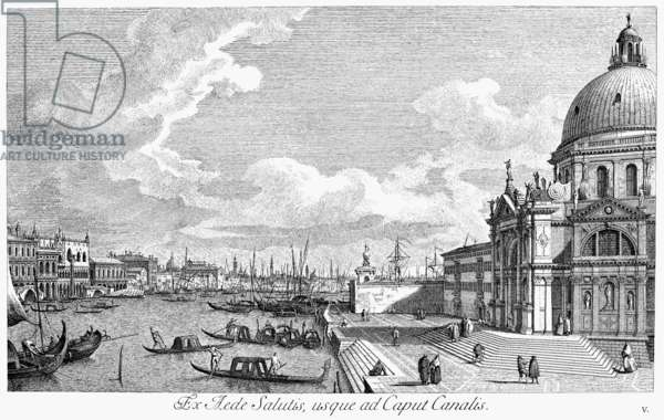 VENICE: GRAND CANAL, 1742 Entrance to the Grand Canal in Venice, Italy, looking east. Line engraving, 1742, by Antonio Visentini after Canaletto.