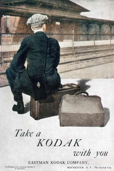 KODAK ADVERTISEMENT, 1915 'Take a Kodak with you.' Advertisement for the Eastman Kodak hand-held camera, from an American magazine, 1915.