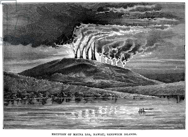 VOLCANOES: HAWAII, c.1875 Eruption of Mauna Loa, Hawaii, Sandwich Islands. Wood engraving, c.1875.