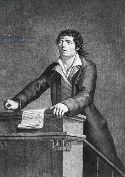 JEAN-PAUL MARAT (1743-1793) French (Swiss-born) physician, journalist, and revolutionary politician. Contemporary French stipple engraving.