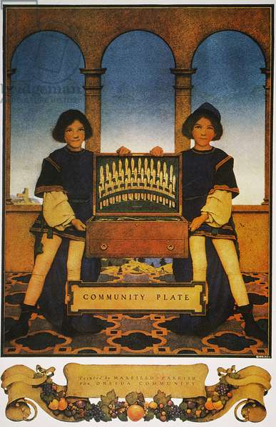 FLATWARE AD, 1918 'Community Plate.' American magazine advertisement by Maxfield Parrish, 1918, for Oneida Community flatware.
