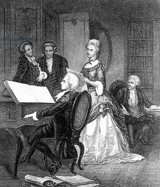 WOLFGANG AMADEUS MOZART (1756-1791). Austrian composer. Mozart rehearsing with German soprano, Caterina Cavalieri (1755-1801). Line engraving.