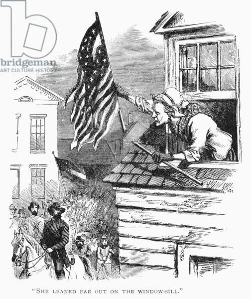 BARBARA FRIETSCHIE (1766-1862). American patriot. Mrs. Barbara Frietschie waving the Union flag above General 'Stonewall' Jackson and his Confederate troops as they marched through Frederick, Maryland, in 1862. Wood engraving, 19th century.