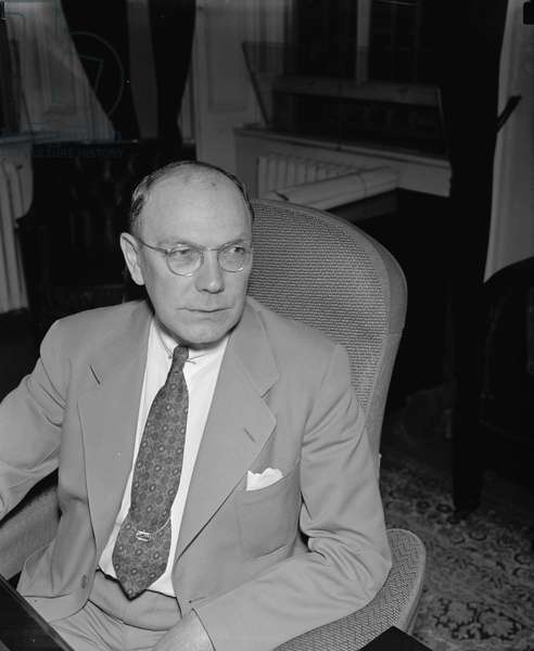 FRANK J. WILSON (1887-1970) Chief of the United States Secret Service and agent in the Treasury Department's Bureau of Internal Revenue (now the Internal Revenue Service), where he was responsible for the prosecution of Al Capone in 1931. Photographed in his office, 11 June 1940.