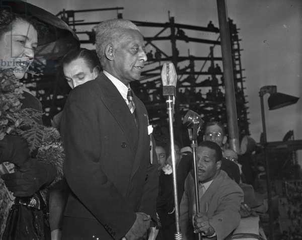 HALEY DOUGLASS (1881-1954) American educator; grandson of Frederick Douglass. Photographed at the launch celebration of the S.S. Frederick Douglass in Baltimore, Maryland. Photograph, 22 May 1943.