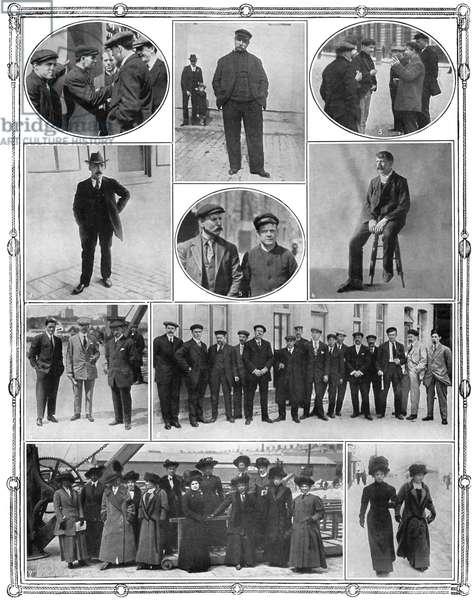 TITANIC SURVIVORS, 1912 Survivors of the 'Titanic,' in England. Photographs, April, 1912.