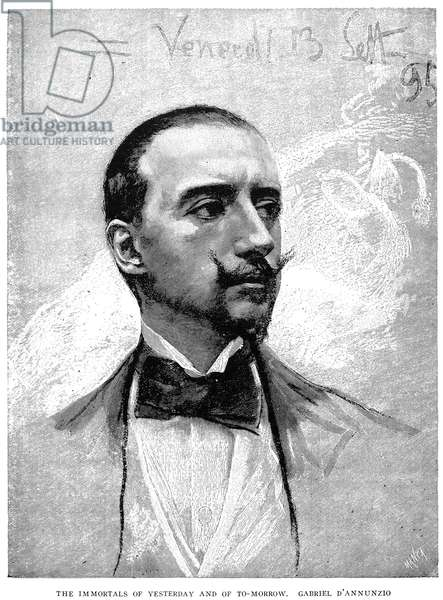 GABRIELE D'ANNUNZIO (1863-1938). Italian author and soldier. Wood engraving, Italian, 1895.