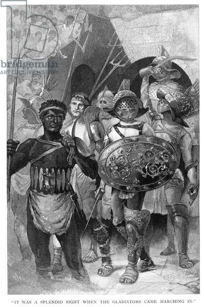 ROMAN GLADIATORS Roman gladiators marching into the arena. Wood engraving, 19th century