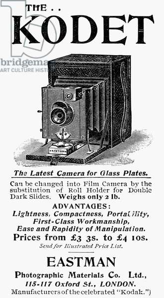 PHOTOGRAPHY: CAMERA, 1895 The Kodet camera from Eastman. Newspaper advertisement, 1895.