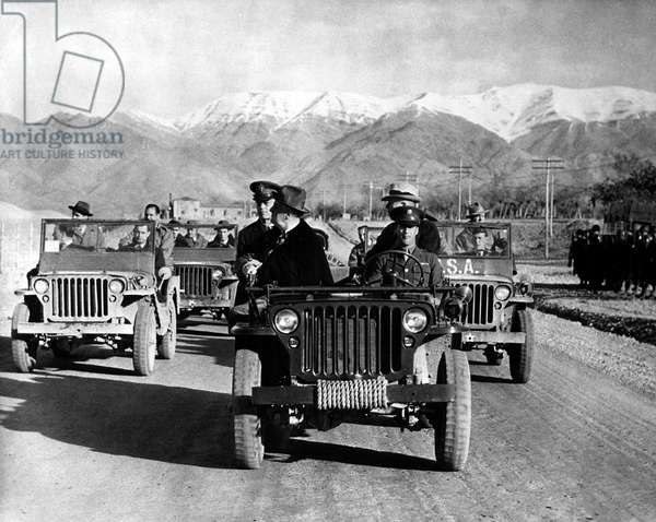 TEHRAN CONFERENCE, 1943 President Franklin D. Roosevelt visits U.S. Army troops while in Iran for the Tehran Conference. Photographed 2 December 1943.