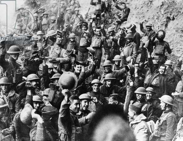 WORLD WAR I: ARMISTICE American troops receive news of the armistice agreement ending World War I, November 1918.