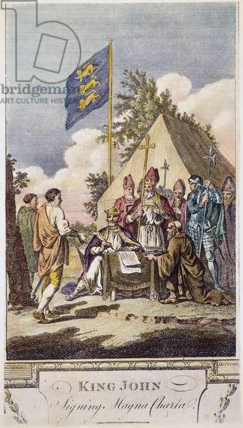 KING JOHN: MAGNA CARTA King John of England signing the Magna Carta at Runnymede, 15 June 1215. Engraving, 18th century.