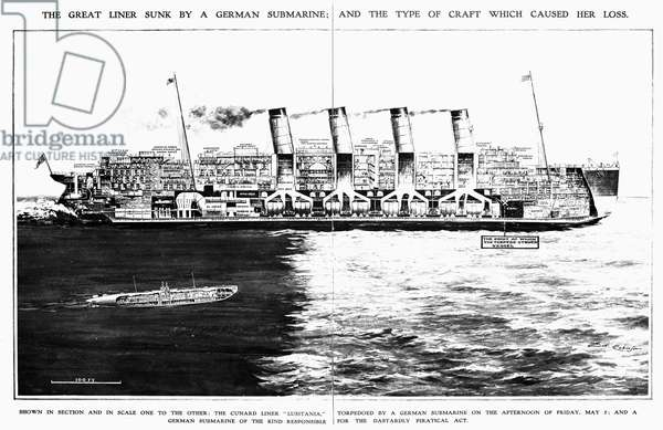LUSITANIA: CROSS SECTION Cross section of the Cunard liner 'Lusitania' with a scale rendering of a German submarine of the class that sank the liner on 7 May 1915. Illustration from a contemporary English newspaper.