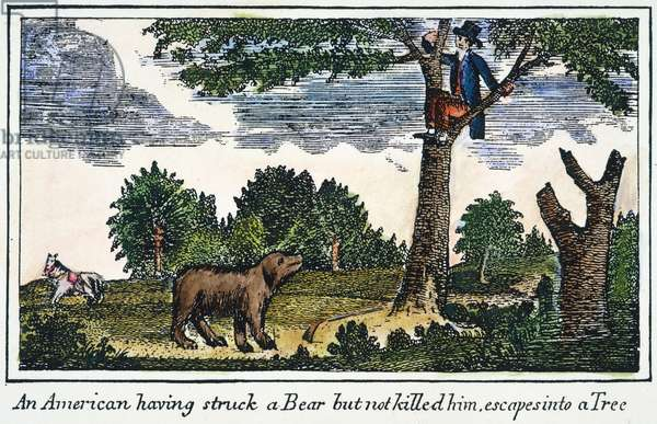 LEWIS & CLARK: BEAR, 1800s Escaping from a bear during the Lewis & Clark expedition. coloured  engraving, 1811, from a contemporary account of the expedition.