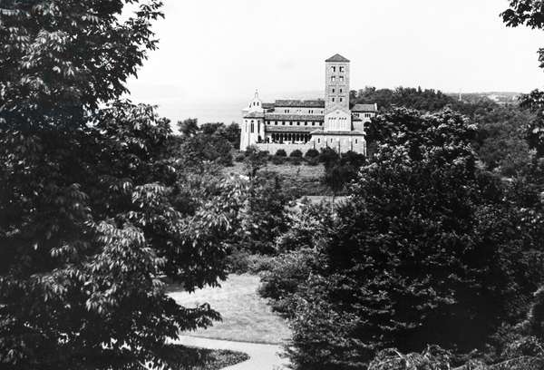 NEW YORK CITY: CLOISTERS View of the Cloisters, a branch of the Metropolitan Museum of Art dedicated to medieval art and architecture. Located in Fort Tryon Park, New York City. Photograph, 1940s.
