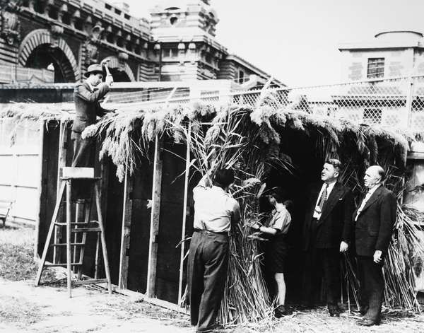 ELLIS ISLAND: SUKKOT Jewish immigrant men and a boy detained at Ellis Island constructing a Sukkot, a ritual structure for the Jewish Harvest Festival, while two other men look on. Photograph, c.1945.