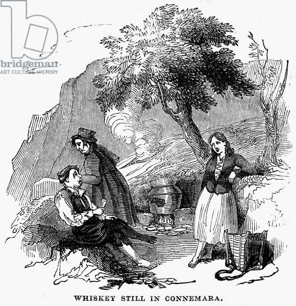 IRELAND: WHISKEY STILL, 1844 Scene at a whiskey still in the Connemara region of County Galway, Ireland. Wood engraving, English, 1844.