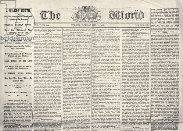 LINCOLN ASSASSINATION Front page of 'The World,' 29 April 1865, with a report on the capture of John Wilkes Booth.