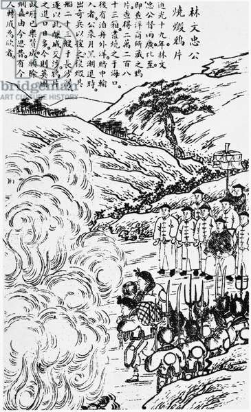 FIRST OPIUM WAR, 1839 Imperial commissioner Lin Zexu directing the destruction of opium in China, 1839, prompting the start of the First Opium War. Wood engraving.