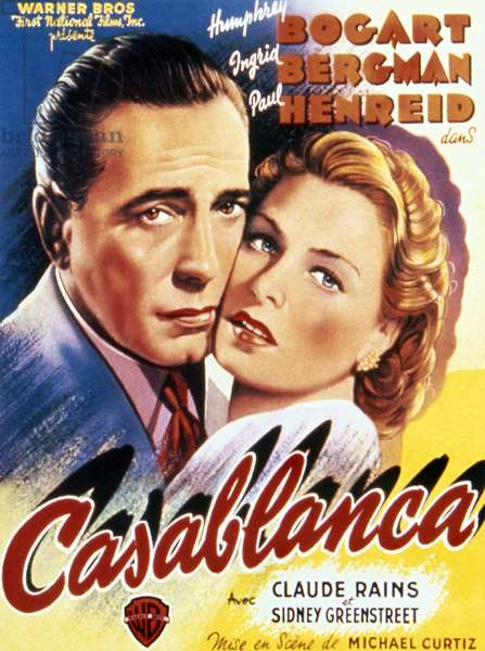 CASABLANCA, 1942 Belgian poster, c.1947, for the American film 'Casablanca,' featuring stars Humphrey Bogart and Ingrid Bergman, originally released in 1942.