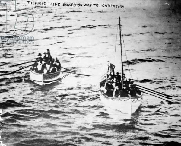 TITANIC: LIFEBOATS, 1912 Lifeboats from the sunken RMS 'Titanic' on the way to the RMS 'Carpathia.' Photographed April 1912.