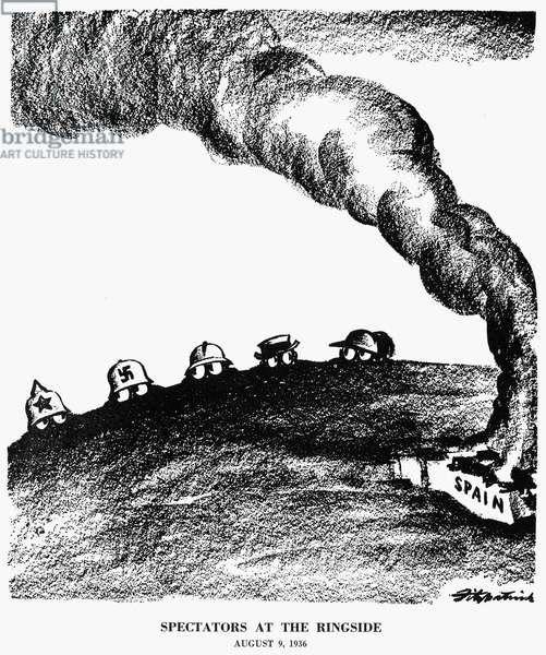 SPANISH CIVIL WAR, 1936 'Spectators at the ringside.' American cartoon, August 1936, by Daniel R. Fitzpatrick.