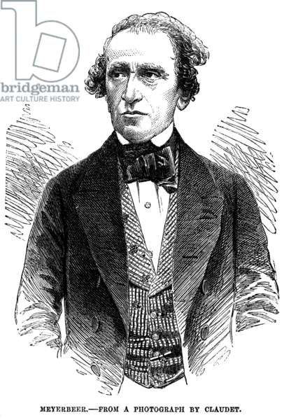 GIACOMO MEYERBEER (1791-1864). German composer. Wood engraving, English, 1855.
