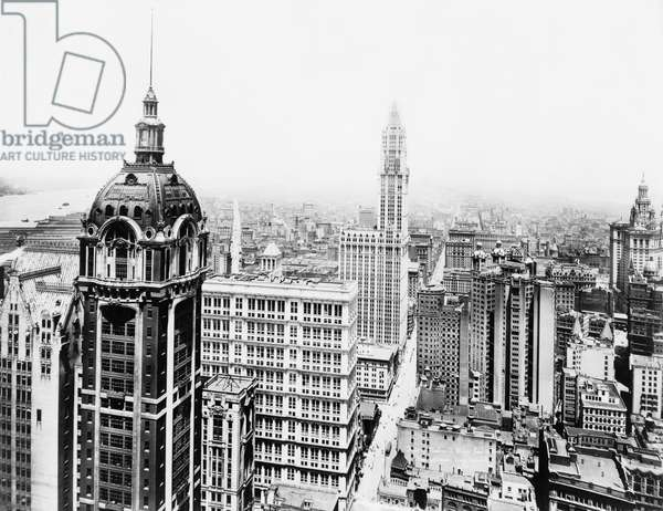 WOOLWORTH BUILDING, 1916 The Singer and Woolworth Buildings, New York City. Photograph, c.1916.