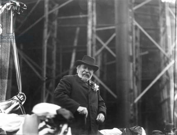 """JAMES JEROME HILL (1838-1916). American railway promoter. Hill at the launching of the Battleship """"USS Minnesota,"""" 1903."""