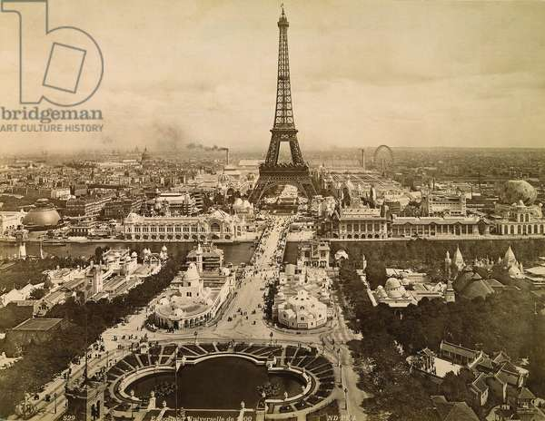 EIFFEL TOWER, PARIS, 1900 Contemporary photograph of the Eiffel Tower dominating the International Exposition of 1900 in Paris.