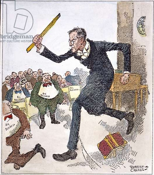 W. WILSON: BIG BUSINESS President Woodrow Wilson, a former professor, going after big business with a ruler rather than with the 'Big Stick' of former president Theodore Roosevelt. American cartoon, c.1913-14, by Robert Carter.