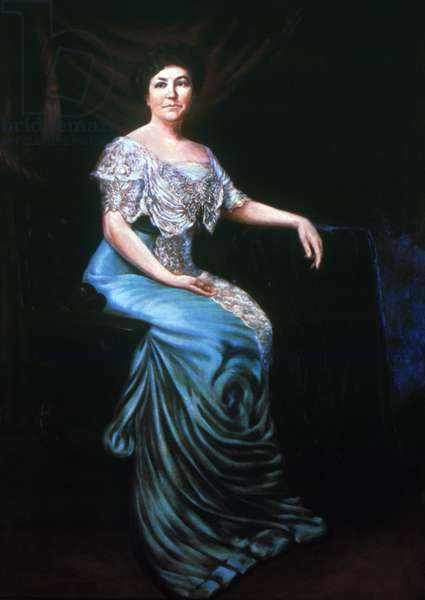 ELLEN LOUISE WILSON  (1860-1914). Wife of President Woodrow Wilson. Oil painting by an unknown artist, after a photograph.