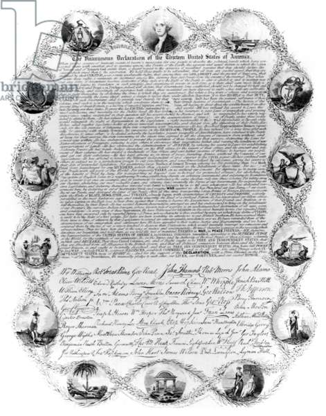 DECLARATION OF INDEPENDENCE An early printed version of the Declaration of Independence surrounded by the portrait of George Washington and vignettes of the thirteen original states.
