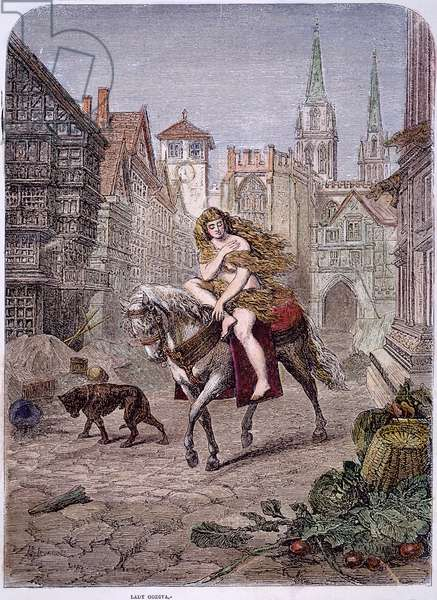 LADY GODIVA (1140-1180) Wife of Leofric, Earl of Mercia. Lady Godiva rides through Coventry. Wood engraving, 1866, after Emanuel Leutze (1816-1868)