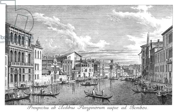 VENICE: GRAND CANAL, 1735 The Grand Canal in Venice, Italy, looking east from the Palazzo Flangini to the Church of San Marcuola. Engraving, 1735, by Antonio Visentini after Canaletto.