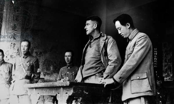 EVANS F. CARLSON (1896-1947). Carlson, a U.S. Marine Corps Brigadier General, meeting with leaders of the Chinese Eighth Army during the Sino-Japanese War. Photographed 29 December 1938.