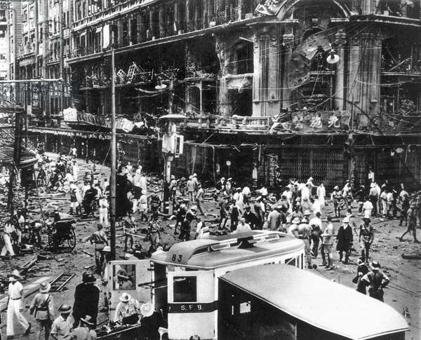 CHINA: JAPANESE INVASION The scene in Shanghai after a bomb wrecked the Sincere department store, August 1937.