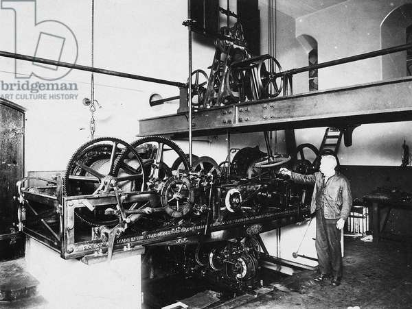 LONDON: BIG BEN, c.1917 View of the gears of Big Ben, inside the Clock Tower in Westminster, London, England. Photographed c.1917.