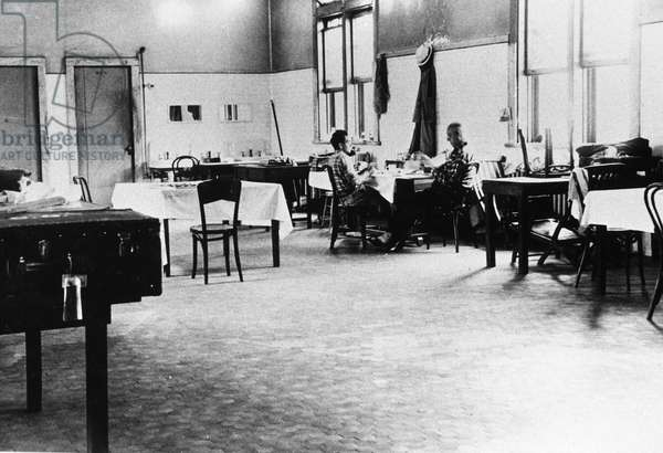 ELLIS ISLAND: DETAINEES Game and recreation room for foreign enemy detainees, held at Ellis Island in New York Harbor during and after World War II. Photograph, c.1945.