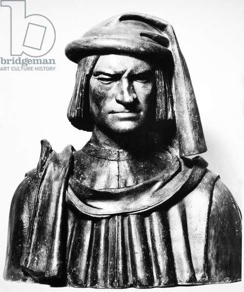 LORENZO DE MEDICI (1449-1492). Florentine statesman and ruler. Terracotta bust by Andrea del Verrocchio.