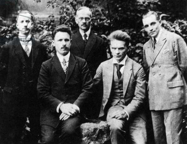 HUGO VOLRATH, 1923 German writer and astrologer. Photographed, 1923, second from right, with delegates at an astrological congress held at Leipzig, Germany.