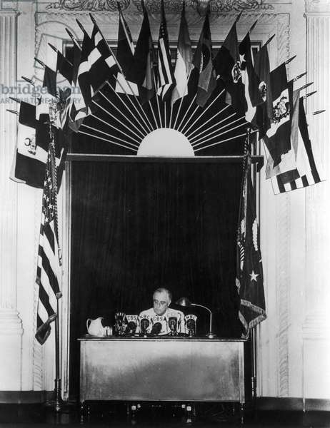FRANKLIN DELANO ROOSEVELT (1882-1945). 32nd President of the United States. Roosevelt declaring an unlimited national emergency, 27 May 1941.