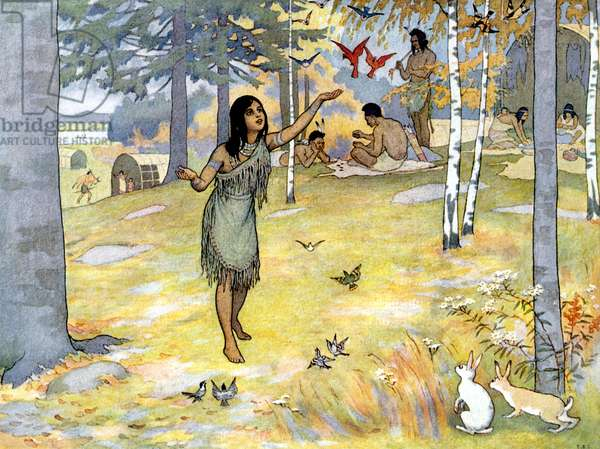 POCAHONTAS (1595-1617) Native American princess. Illustration by E. Boyd Smith from 'The Story of Pocahontas and Captain John Smith', 1906.