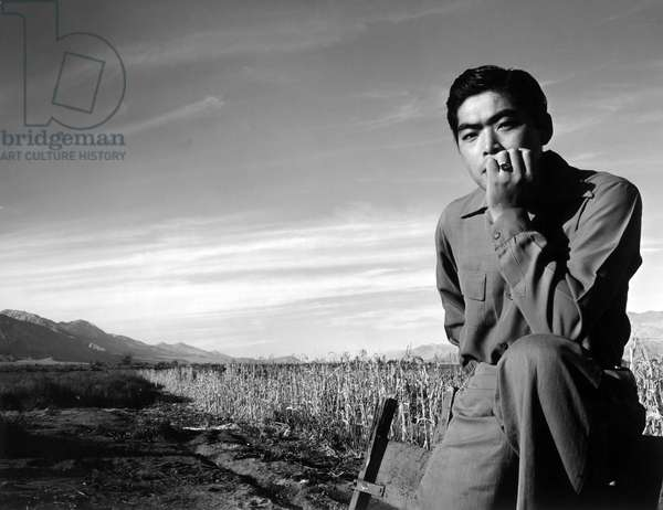 JAPANESE INTERNMENT, 1943 Tom Kobayashi, a Japanese American, photographed at a field at the Manzanar Relocation Center near Owens Valley, California. Photograph by Ansel Adams, 1943.