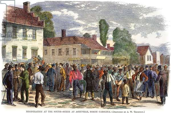 NORTH CAROLINA: VOTE, 1867 Freedmen registering to vote at Asheville, North Carolina, in 1867. Contemporary color engraving.