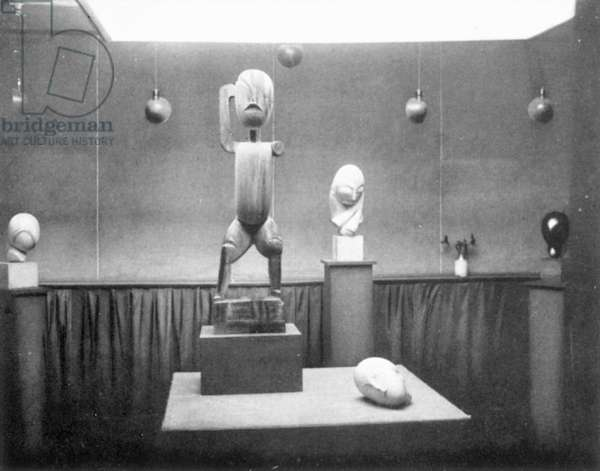STIEGLITZ GALLERY, NYC, 1914 Part of an exhibition held in 1914 at Alfred Stieglitz's 291 Gallery on Fifth Avenue in New York City. Pictured is sculpture by Constantin Brancusi. Photograph by Alfred Stieglitz.