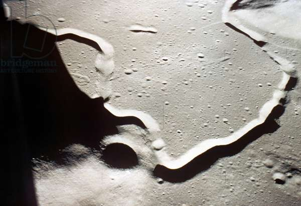 APOLLO 15: MOON VIEW View of the Hadley-Apennine landing area showing Rille and St. George Crater, 1971.