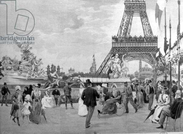 PARIS: EIFFEL TOWER, 1889 A Promenade at the Universal Exposition of 1889. Contemporary French engraving.