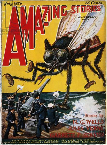 WAR OF THE WORLDS, 1927 American science fiction magazine cover, 1927, illustrating